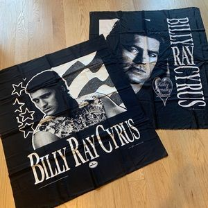 Vintage Billy Ray Cyrus Flag Banners 1992